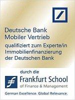 Zertifikat qualifiziert zur Expertin Immobilienfinanzierung der Deutschen Bank