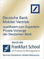 Zertifikat qualifiziert zur Expertin Private Vorsorge der Deutschen Bank