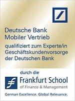 Zertifikat qualifiziert zum Experten Geschäftskundenvorsorge der Deutschen Bank