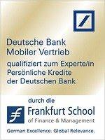 Zertifikat qualifiziert zum Experten Persönliche Kredite der Deutschen Bank