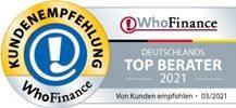 Top Berater 2021 - Kundenempfehlung WhoFinance
