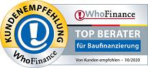 Top Berater für Baufinanzierung - Von Kunden empfohlen: 10/2020
