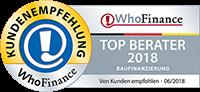 Top Berater 2018 - Kundenempfehlung WhoFinance