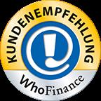 Siegel Kundenempfehlung WhoFinance