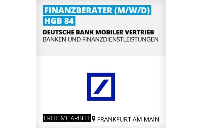 Stellenanzeige: Finanzberater (m/w/d) HGB 84 - freie Mitarbeit am Standort Frankfurt am Main gesucht!